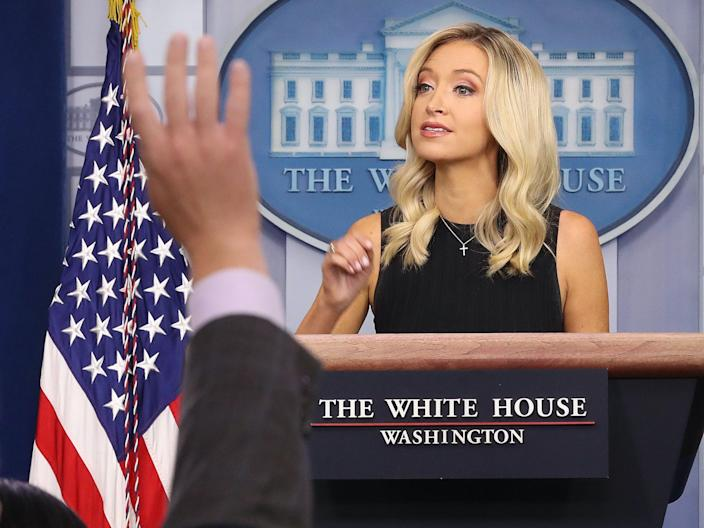 <br>White House Press Secretary Kayleigh McEnany speaks during a briefing at the White House last month.