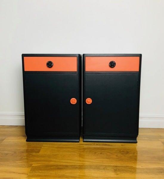 """Vinterior is not only a great site to search for vintage furniture, it also has a whole page dedicated to <a href=""""https://www.vinterior.co/furniture/style/upcycled?"""" rel=""""nofollow noopener"""" target=""""_blank"""" data-ylk=""""slk:upcycled furniture"""" class=""""link rapid-noclick-resp"""">upcycled furniture</a>: when damaged, unwanted or abandoned furniture is enhanced in some way to bring it back to life. It's an innovative form of recycling that produces some truly unique pieces, like these eye-catching bedside cabinets.<br><br><strong><a href=""""https://www.vinterior.co/"""" rel=""""nofollow noopener"""" target=""""_blank"""" data-ylk=""""slk:Vinterior"""" class=""""link rapid-noclick-resp"""">Vinterior</a></strong><br><br><strong>Vinterior</strong> Two Mid Century Bedside Cabinets, $, available at <a href=""""https://www.vinterior.co/furniture/tables/bedside-tables/two-mid-century-bedside-cabinets-1960s"""" rel=""""nofollow noopener"""" target=""""_blank"""" data-ylk=""""slk:Vinterior"""" class=""""link rapid-noclick-resp"""">Vinterior</a>"""