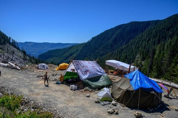 An unnamed camp in the hills near the Fairy Creek watershed on Vancouver Island where activists are protesting the logging of old growth forests on June 1, 2021.