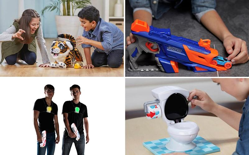 The wishlist includes a FurReal Roarin' Tyler tiger, a Nerf Nitro Longshot Smash, a Laser X - 2 Player Pack and the 'hilarious' Toilet Trouble Hasbro game