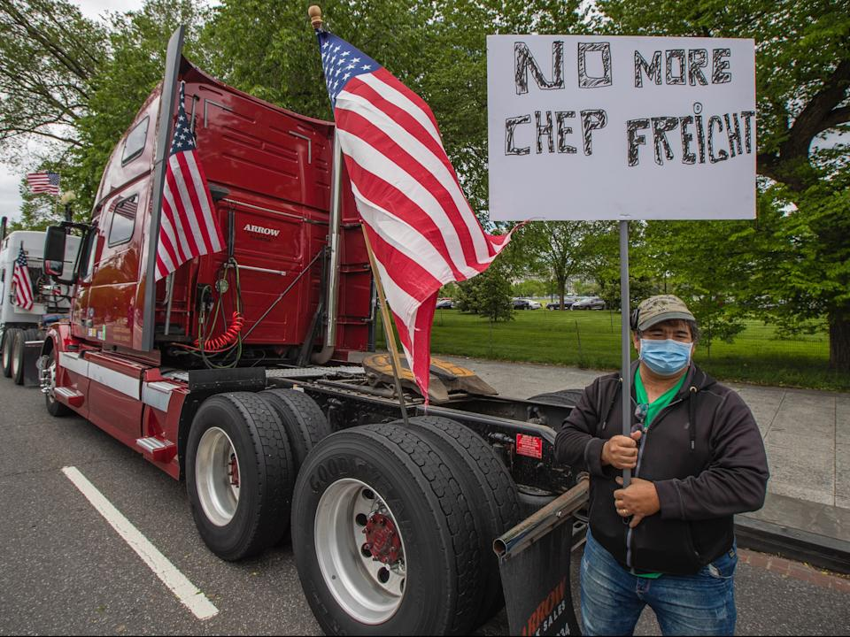 A truck driver protests in 2020.