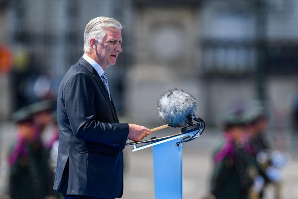 <p>Philippe gave a speech during the parade.</p>
