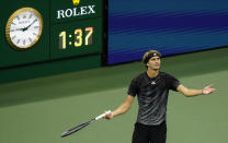 Alexander Zverev, of Germany, questions a call during the semifinals of the US Open tennis championships against Novak Djokovic, of Serbia, , Friday, Sept. 10, 2021, in New York. (AP Photo/Seth Wenig)