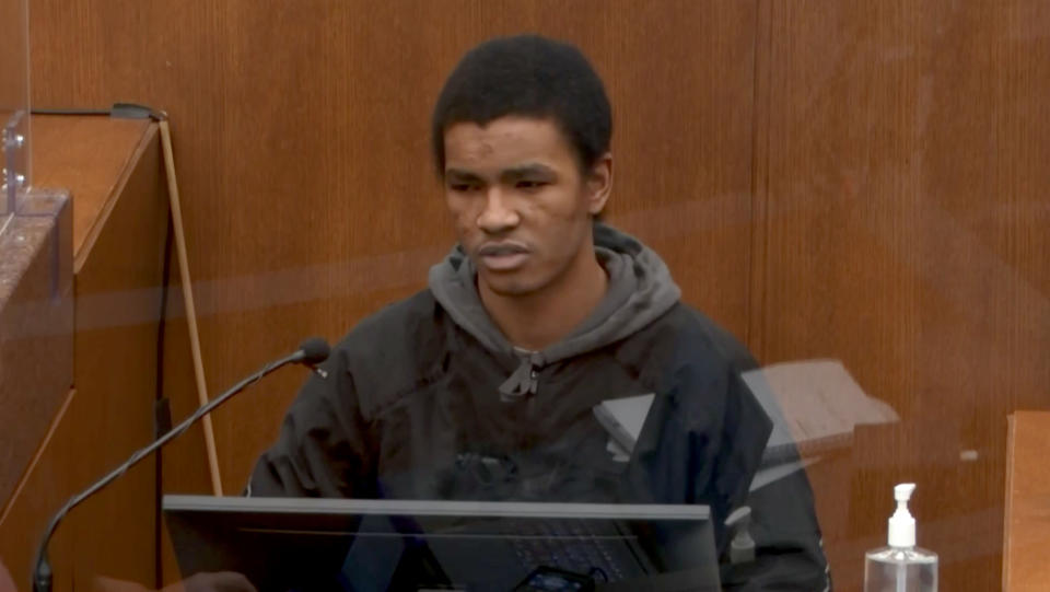 Christopher Martin testifies in the Derek Chauvin trial in Minneapolis, MN. on March 31, 2021. (Court TV via Reuters Video)