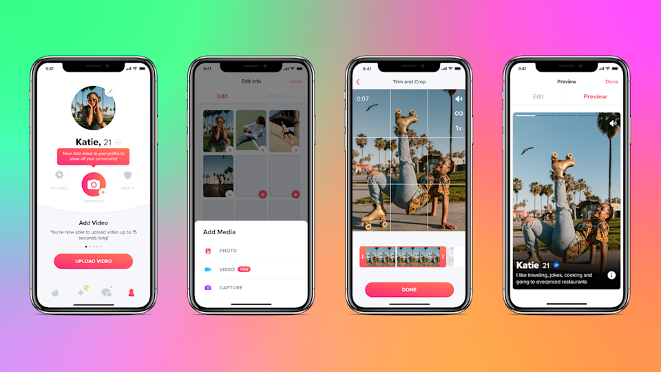 Tinder's update allows users to add videos to their profile
