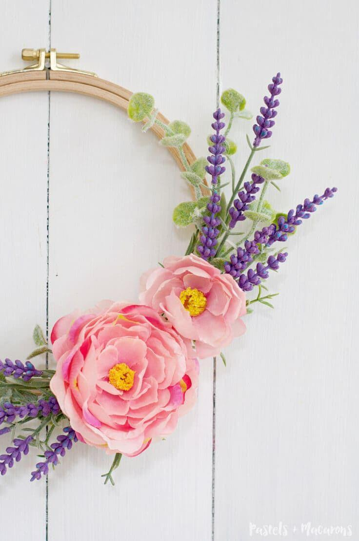 """<p>Enlist your embroidery hoops to make cute floral wreaths fit for Easter and beyond. You could even give these mini arrangements out as favors at Easter brunch.</p><p><strong>Get the tutorial at <a href=""""https://www.kenarry.com/diy-embroidery-hoop-spring-wreath/"""" rel=""""nofollow noopener"""" target=""""_blank"""" data-ylk=""""slk:Kenarry"""" class=""""link rapid-noclick-resp"""">Kenarry</a>.</strong></p><p><strong><a class=""""link rapid-noclick-resp"""" href=""""https://www.amazon.com/Caydo-Pieces-Embroidery-Bamboo-Circle/dp/B07HCGVVTM?tag=syn-yahoo-20&ascsubtag=%5Bartid%7C10050.g.4088%5Bsrc%7Cyahoo-us"""" rel=""""nofollow noopener"""" target=""""_blank"""" data-ylk=""""slk:SHOP EMBROIDERY HOOPS"""">SHOP EMBROIDERY HOOPS</a><br></strong></p>"""