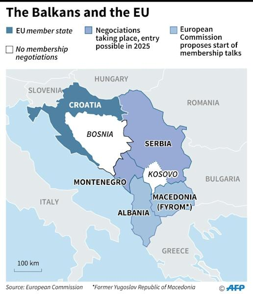 Map showing the position of Kosovo, the Balkan region and Balkan states' status regarding the European Union