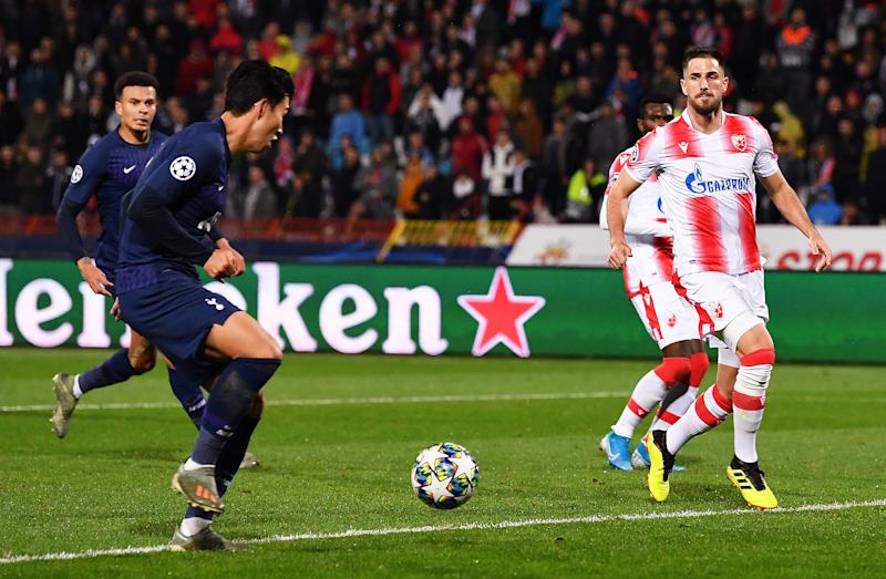 BELGRADE, SERBIA - NOVEMBER 06: Heung-Min Son of Tottenham Hotspur scores his team's third goal during the UEFA Champions League group B match between Crvena Zvezda and Tottenham Hotspur at Rajko Mitic Stadium on November 06, 2019 in Belgrade, Serbia. (Photo by Justin Setterfield/Getty Images)