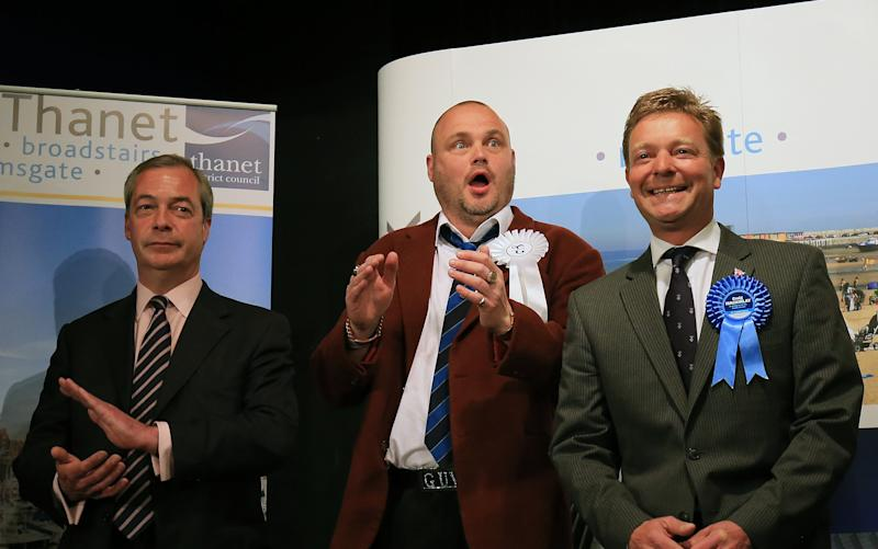 "Craig Mackinlay, right, who pipped Nigel Farage and comedian Al Murray at the 2015 General Election was one of those who was charged ""in error"", he said - Credit: Gareth Fuller/PA"