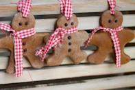 """<p>Add buttons and scarves for a major cute-factor. They'll smell amazing, but you unfortunately won't be able to eat them!</p><p>Get the tutorial at <a href=""""http://treasureinanearthenvessel.blogspot.com/2014/12/cinnamon-salt-dough-ornaments.html"""" rel=""""nofollow noopener"""" target=""""_blank"""" data-ylk=""""slk:Where Your Treasure Is"""" class=""""link rapid-noclick-resp"""">Where Your Treasure Is</a>.</p>"""