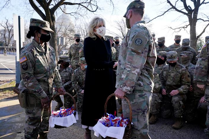 <p>Dr Jill Biden made a surprise visit to the US Capitol to thank the National Guard troops who were working to protect Washington DC</p> (AP)