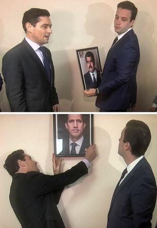 A combination of two photos shows Carlos Vecchio (L), the envoy to the United States of Venezuelan opposition leader Juan Guaido, and an aide take down a picture of Venezuela's President Nicolas Maduro (top photo) and replace it with a picture of Guaido (bottom photo) in these frame grabs from video after supporters of Guaido took control of the office of Venezuela's military attache in Washington, U.S. March 18, 2019.   REUTERS/Gershon Peaks