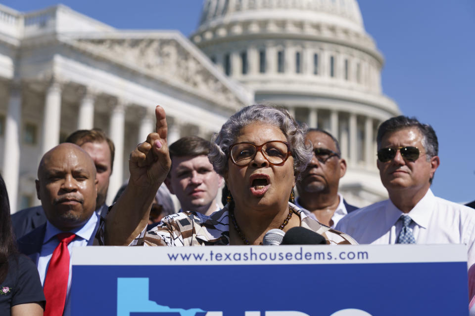 FILE - In this July 13, 2021, file photo Texas State Rep. Senfronia Thompson, dean of the Texas House of Representatives, speaks as Democratic members of the Texas legislature hold a news conference at the Capitol in Washington. Texas Democrats are starting a second week of holing up in Washington to block new voting laws back home. More than 50 Democrats in the Texas House of Representatives had plans Monday to continue on a media blitz in the nation's capital and pressure Congress to act on federal voting rights. (AP Photo/J. Scott Applewhite, File)
