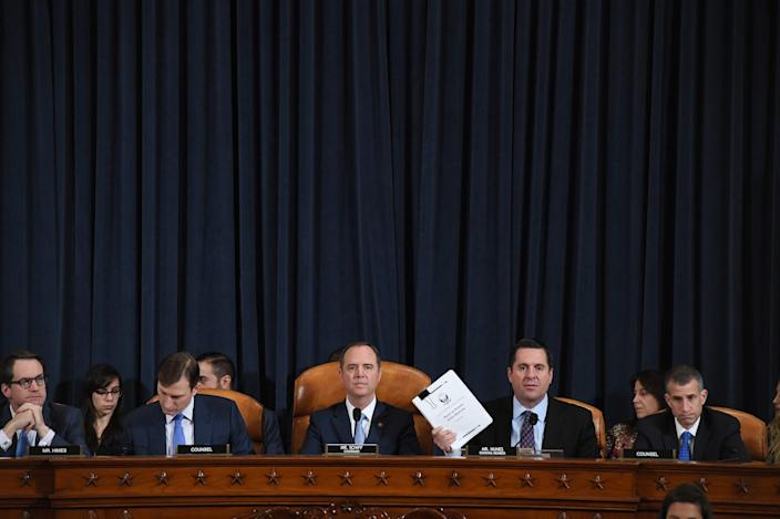 (L-R)US Representative Jim Himes (D-CT), counsel, Daniel Goldman, House Intelligence Committee chair, Adam Schiff (D-CA), US Representative Devin Nunes (R-CA), and counsel, Steve Castor.