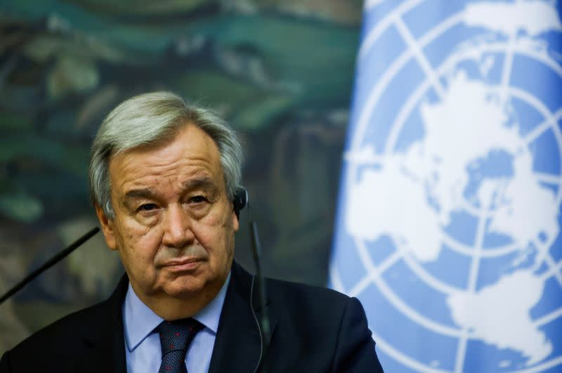 FILE PHOTO: U.N. Secretary-General Guterres attends a news conference in Moscow
