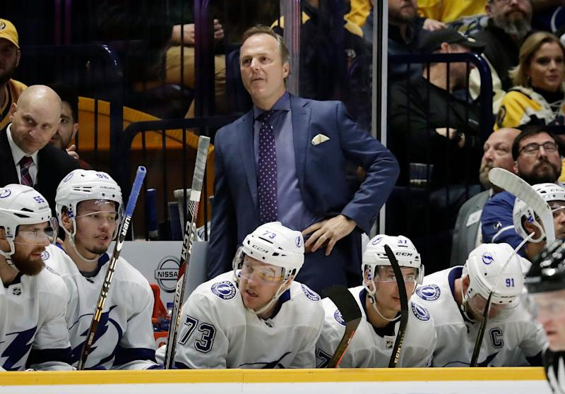 dc8983c4bde Tampa Bay Lightning head coach Jon Cooper watches the action in the second  period of an
