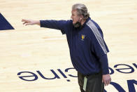 West Virginia coach Bob Huggins reacts during the first half of an NCAA college basketball game against Texas, Saturday, Jan. 9, 2021, in Morgantown, W.Va. (AP Photo/Kathleen Batten)