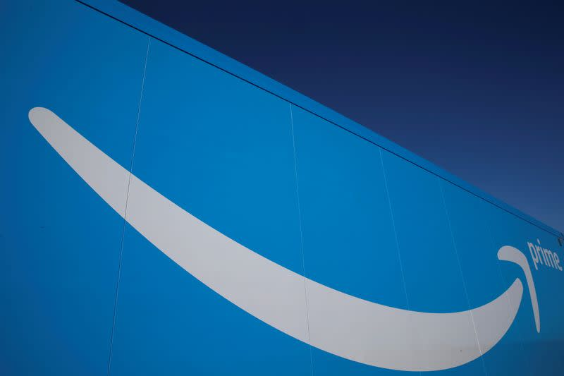 FILE PHOTO: The logo of Amazon Prime Delivery is seen on the trailer of a truck outside the company logistics centre in Boves