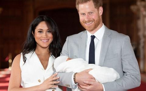 The Duke and Duchess of Sussex with their baby son Archie Mountbatten-Windsor shortly after his birth - Credit: Dominic Lipinski/PA Wire