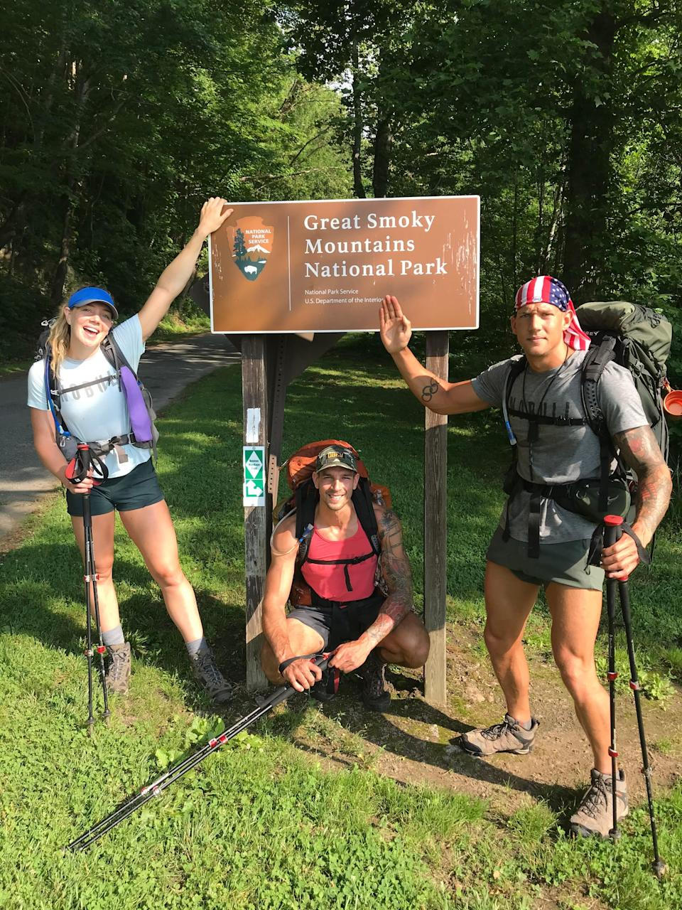 Olympic swimmer Caeleb Dressel took a hiking trip with his family during the pandemic, something he usually isn't able to do during his season. Here he's shown with siblings Kaitlyn and Tyler.