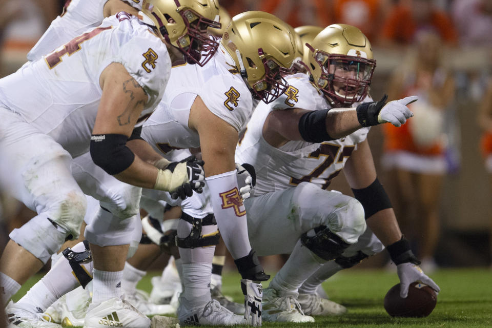 Boston College offensive lineman Alec Lindstrom (72) points out the defense during the second half of an NCAA college football game against Clemson Saturday, Oct.2, 2021, in Clemson, S.C. (AP Photo/Hakim Wright Sr.)