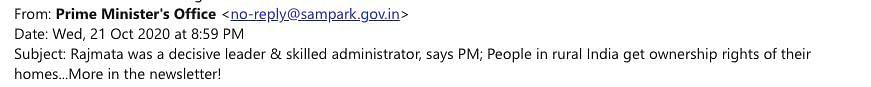 Screenshot of email received from Prime Minister's Office on 21 October.