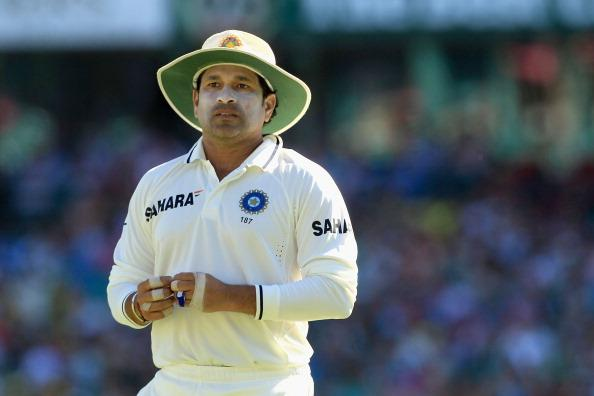SYDNEY, AUSTRALIA - JANUARY 03: Sachin Tendulkar of India looks on during day one of the Second Test Match between Australia and India at Sydney Cricket Ground on January 3, 2012 in Sydney, Australia. (Photo by Hamish Blair/Getty Images)