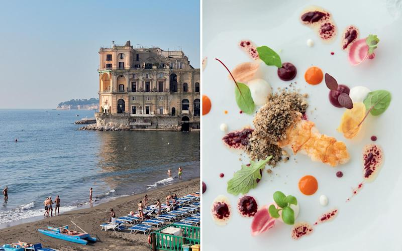 From left: Swimmers on the beach in Posillipo, a neighborhood of Naples; a dish on the seafood tasting menu at Indaco, the Michelin-starred restaurant at L'Albergo della Regina Isabella, on Ischia. | Danilo Scarpati