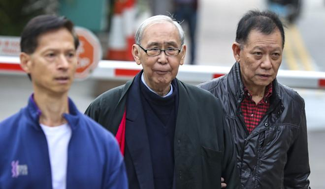 Former Chief Secretary Rafael Hui Si-yan (centre) is released from Stanley Prison in December 2019 after serving five years for bribery, misconduct. Photo: Nora Tam