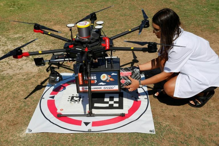 The delivery demonstration was part of a 20 million shekel initiative to advance Israel's drone technology (AFP/JACK GUEZ)