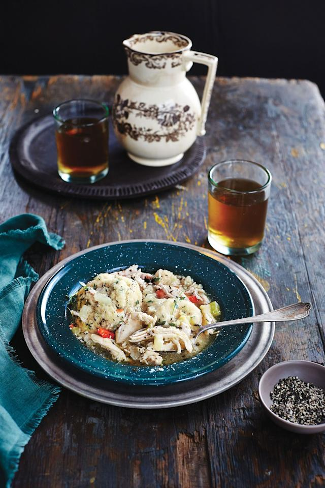 "<p>Recipe: <a href=""http://www.southernliving.com/recipes/chicken-dumplings-recipe"">Chicken and Dumplings</a></p> <p>A tasty way to keep warm on winter nights, our Chicken and Dumplings recipe offers from-scratch and store-bought options. </p>"