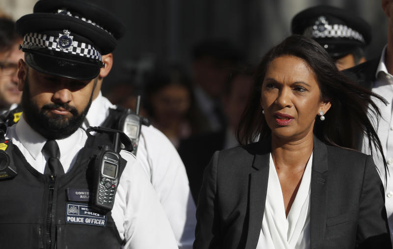 Anti-Brexit campaigner Gina Miller arrives at The Supreme Court in London, Thursday, Sept. 19, 2019. The Supreme Court is set to decide whether Prime Minister Boris Johnson broke the law when he suspended Parliament on Sept. 9, sending lawmakers home until Oct. 14 — just over two weeks before the U.K. is due to leave the European Union. (AP Photo/Alastair Grant)