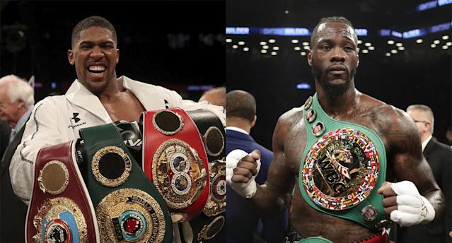 IBF-WBA-WBO heavyweight champion Anthony Joshua (L) vs. WBC heavyweight champ Deontay Wilder in a title unification bout could eclipse two million pay-per-view sales. (AP)