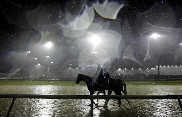 Exercise rider Abel Flores takes Kentucky Derby hopeful Tapiture for a morning workout in the rain at Churchill Downs Monday, April 28, 2014, in Louisville, Ky. (AP Photo/Morry Gash)