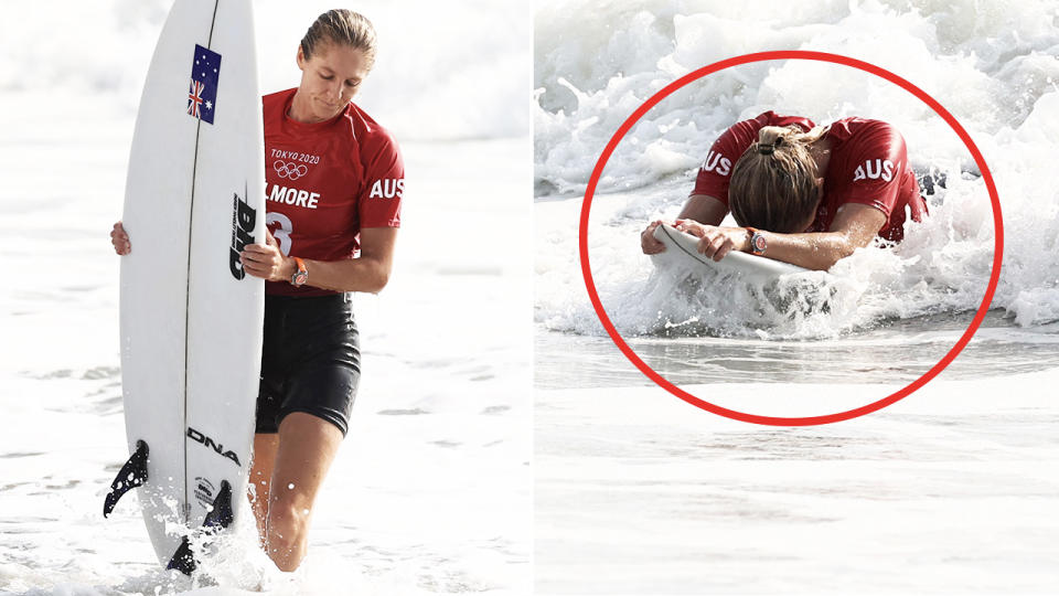 Steph Gilmore, pictured here looking dejected after being eliminated from the Olympics surfing event.