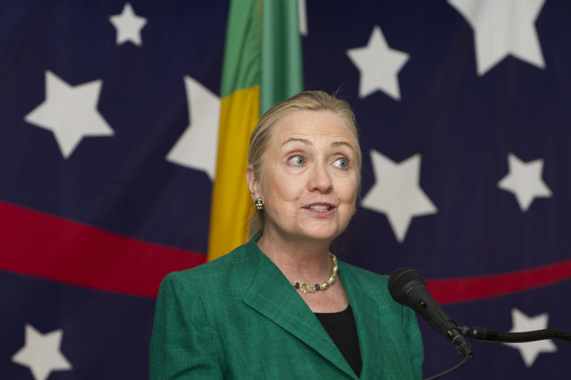 U.S. Secretary of State Hillary Rodham Clinton, speaks to U.S. Embassy staff in Cotonou, Benin, on Friday, Aug. 10, 2012. Benin is the last of a nine country tour of Africa before heading to Istanbul for talks on Syria. (AP Photo/Jacquelyn Martin, Pool)