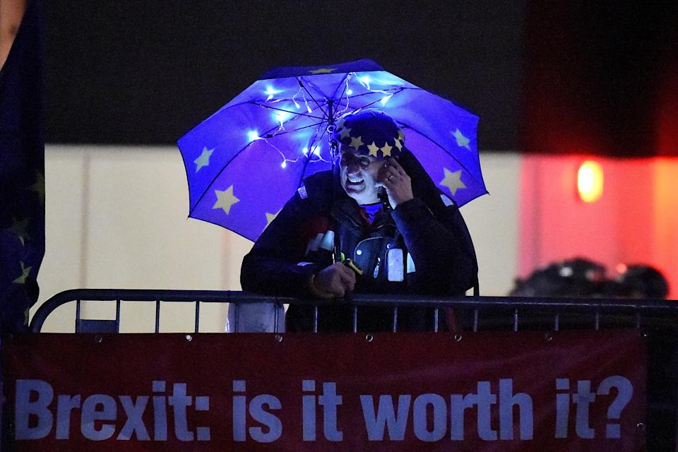 An anti-Brexit demonstrator holds an EU umbrella outside the Houses of Parliament in London, Britain, January 14, 2019. Photo: Reuters/Clodagh Kilcoyne