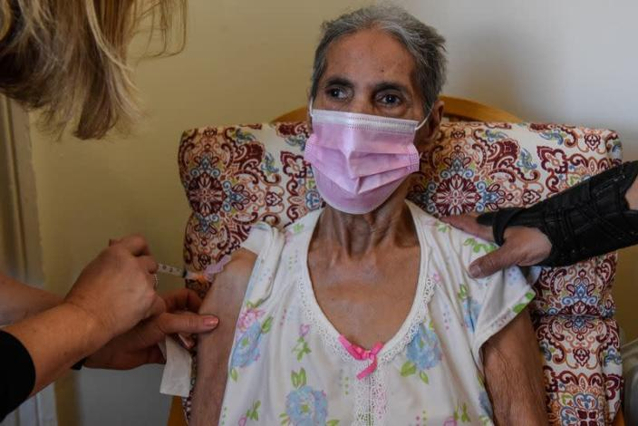 Home-bound seniors receive COVID-19 vaccinations