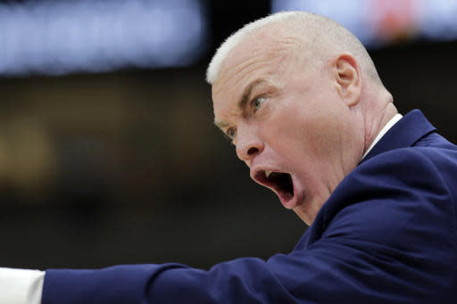 Penn State head coach Patrick Chambers directs his team during the first half of an NCAA college basketball game against the Minnesota in the second round of the Big Ten Conference tournament, Thursday, March 14, 2019, in Chicago. (AP Photo/Kiichiro Sato)