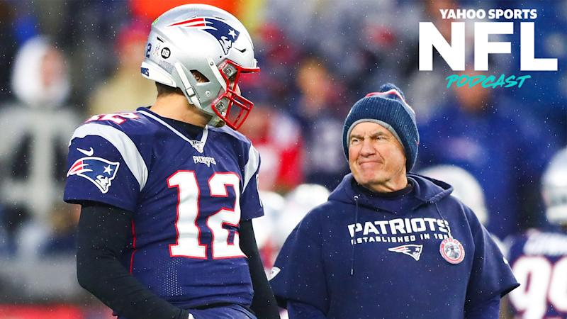 "Tom Brady and Bill Belichick had a conversation on Wednesday that reportedly ""did [not] go well."" Terez Paylor & Charles Robinson break down what this means on the latest Yahoo Sports NFL Podcast. (Photo by Adam Glanzman/Getty Images)"