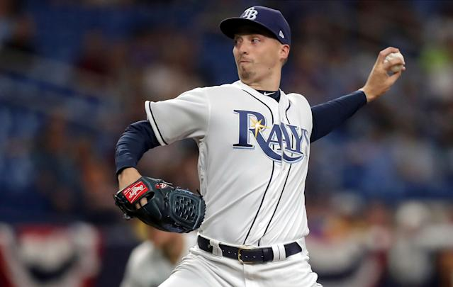Blake Snell will miss one start after fracturing the fourth toe on his right foot. (AP Photo)