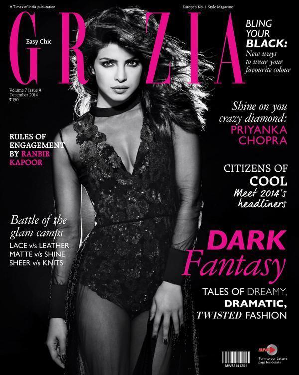 <p>Priyanka posed for the Dark Fantasy issue of Grazia in December 2014. The actress sported a sexy hot black swim suit, by Namrata Joshipura and boy did she look ravishing!</p>