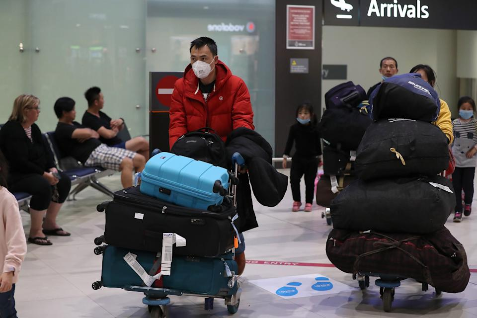 Passengers from China Southern Airlines flight CZ319 arrive at Perth International Airport.