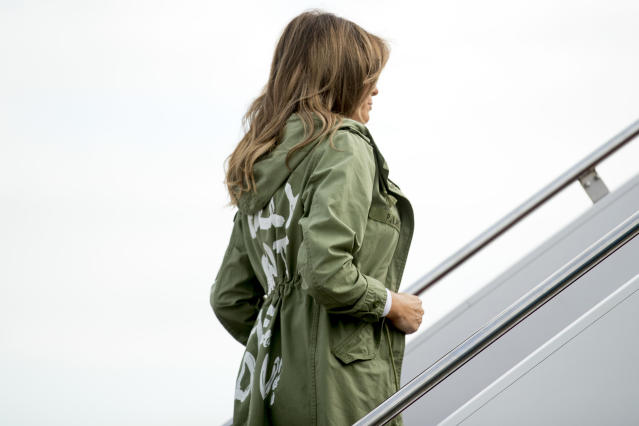 First lady Melania Trump boards a plane at Andrews Air Force Base in Maryland on Thursday to travel to Texas. (Photo: Andrew Harnik/AP)