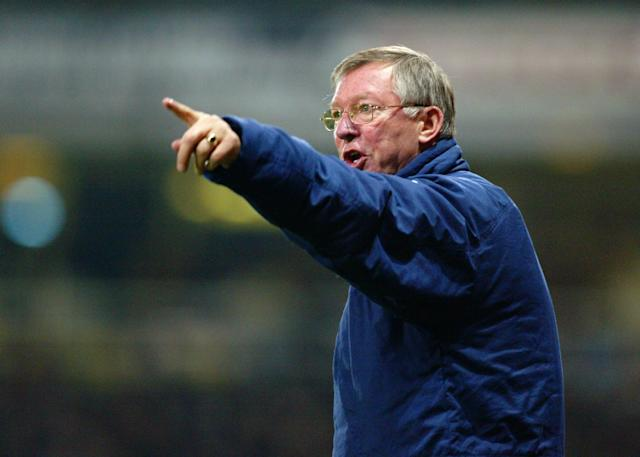 LONDON - NOVEMBER 17: Sir Alex Ferguson, manager of Manchester United, shouts instructions to his players during the FA Barclaycard Premiership match between West Ham United and Manchester United on November 17, 2002 played at Upton Park in London, England. The match ended in a 1-1 draw. (Photo by Phil Cole/Getty Images)