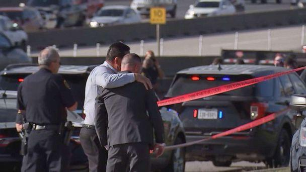 PHOTO: Officials at the scene in Houston where police Sgt. Sean Rios was shot and killed, Nov. 9, 2020. (KTRK)