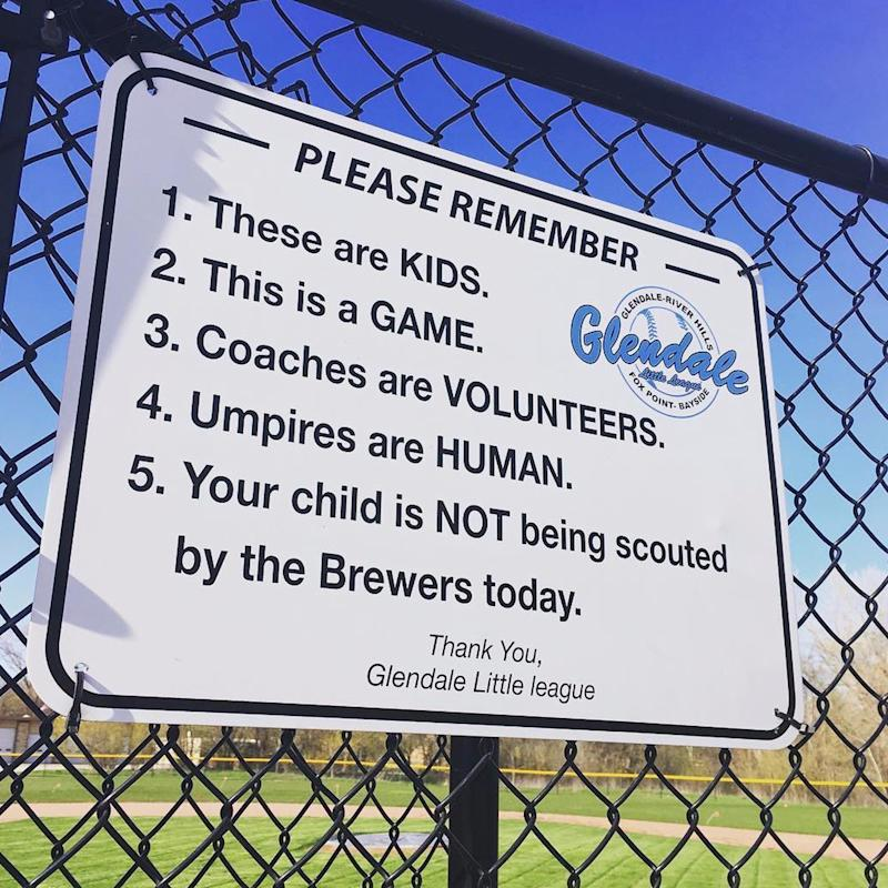 Why This Sign Found at a Baseball Field Should Be Up at Every Kids' Sporting Event