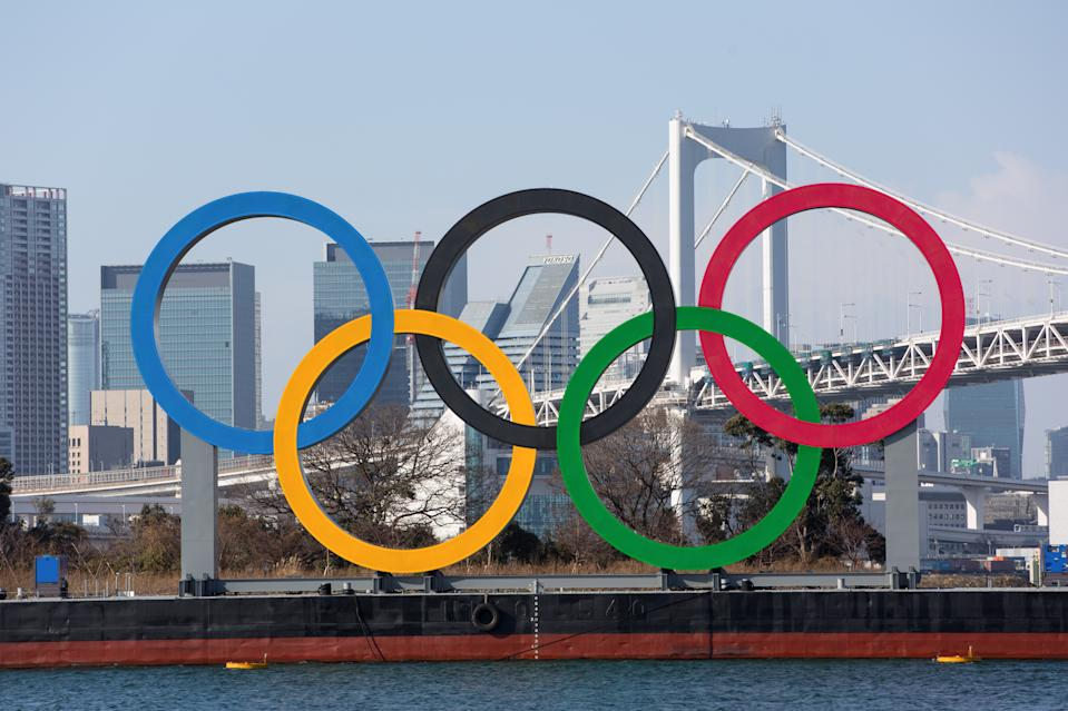 ODAIBA MARINE PARK, TOKYO, JAPAN - 2021/01/16: Olympic Rings installation seen in Odaiba Marine Park. (Photo by Stanislav Kogiku/SOPA Images/LightRocket via Getty Images)