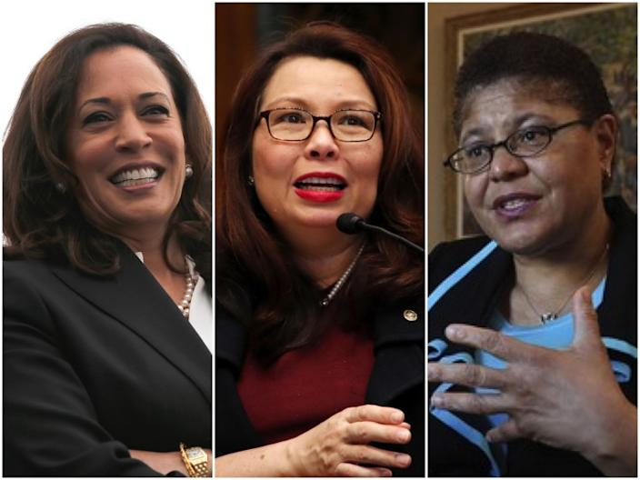 """Sens. Kamala Harris, from left, Tammy Duckworth and Rep. Karen Bass are among the women Joe Biden is considering for his running mate. <span class=""""copyright"""">(Los Angeles Times)</span>"""