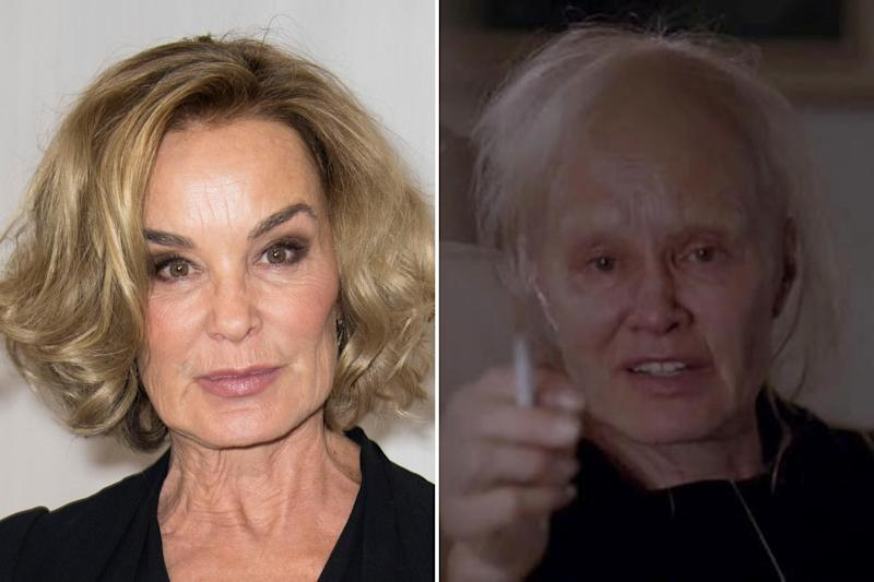 Jessica Lange usually gets to retain a bit of glamour for her roles, but certain scenes in Coven required her to portray the dying witch as, well, a dying witch. Photos courtesy of Getty Images and FX.